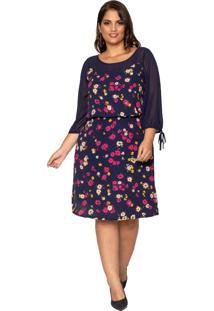 Vestido Almaria Plus Size Pianeta Floral Azul Marinho