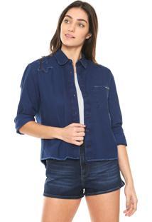 6651c764aa ... Camisa Jeans Sommer Bordada Azul-Marinho