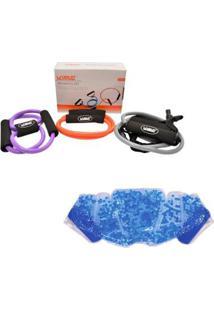 Kit 3 Elásticos Extensores Training Set Liveup + Bolsa Térmica Contusões - Unissex-Laranja