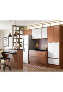 Cozinha Compacta Com Rodapé 8 Peças 5464R Calábria - Multimóveis. - Nogueira / Branco