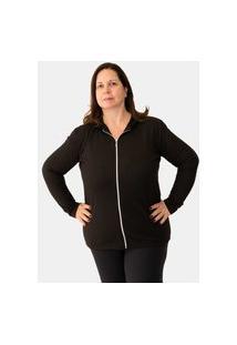 Cardigã Feminino Plus Size Com Capuz E Zíper 1211