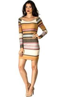 Vestido Listrado Ciara Handbook - Feminino-Bege