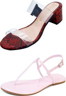 Kit Sandália Tamanco Salto E Rasteira Mercedita Shoes Cristal Com Cobra Vermelho E Verniz Rosa San