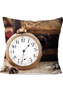 Capa De Almofada Avulsa Decorativa Relógio Retro 45X45Cm