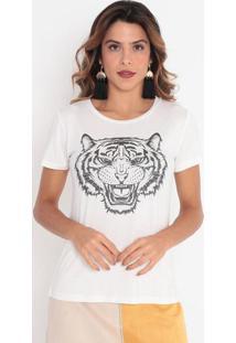 """Blusa """"Tigre"""" Com Bordados - Off White & Preta- Cavacavalari"""