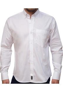 Camisa Kevingston Penn Lisa Manga Longa Branca De Algodão Com Bolso E Logo Bordado Classic Fit Ml