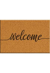 Capacho De Vinil Welcome Amarelo Único Love Decor
