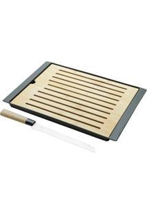Jogo De Tábua De Bambu E Migalheira Com Faca Para Pão De Aço Inox 38X27Cm Lyor