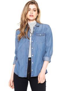 Camisa Jeans Timberland Slim Azul