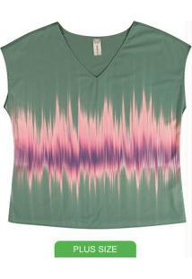 Blusa Feminina Plus Size Estampada Verde