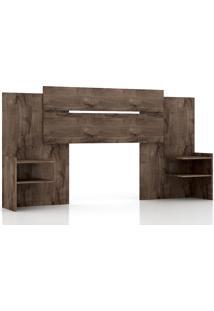 Cabeceira Panan Móveis Casal Mila Extensível Para Cama Box Com Prateleiras Café