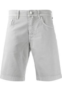 Jacob Cohen Bermuda Jeans Com Detalhe De Lenço - Cinza