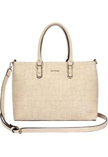 Bolsa Shopping Bag Croco Mormaii - Feminino-Bege