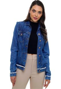 Jaqueta Jeans Sob Com Detalhes Desfiados Azul Jeans Com Bolsos - Kanui