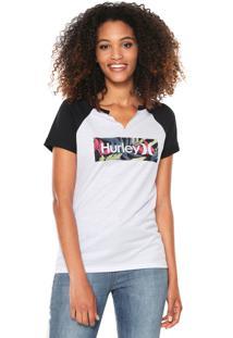... Camiseta Hurley Tropic Trees Branca Preta 1ded1375a4b