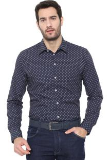 Camisa Colcci Slim Estampada Azul-Marinho