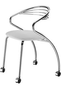 Cadeira Angola Cromada Com Rodizios Corino Branco 8832 - Sun House
