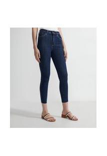 Calça Skinny Cintura Alta Em Jeans Com Barra Desfiada | Marfinno | Azul | 42