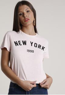 "Blusa Feminina ""New York"" Manga Curta Decote Redondo Rosa Claro"