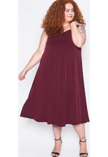 Vestido Midi Plus Size Malha Vinho Vermelho