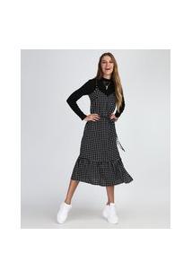 Vestido Feminino Midi Estampado De Poá Com Babados Alça Fina Preto