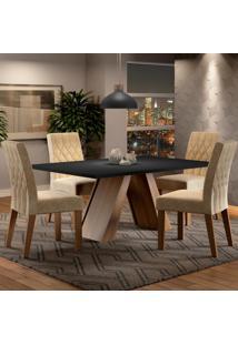 Conjunto Sala De Jantar Madesa Karen Mesa Tampo De Madeira Com 4 Cadeiras Marrom - Tricae