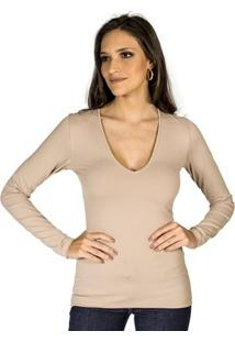 Blusa Básica Slim Colcci Feminino - Feminino-Bege