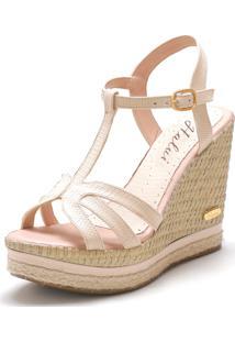 Sandã¡Lia Sb Shoes Anabela Ref.3230 Amãªndoa - Bege - Feminino - Couro Sintã©Tico - Dafiti