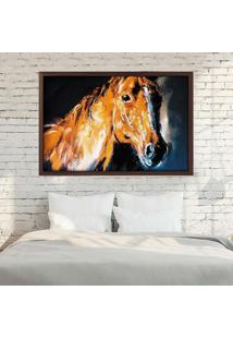 Quadro Love Decor Com Moldura Brown Horse Madeira Escura Grande