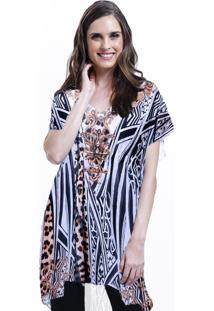 Blusa 101 Resort Wear Tunica Decote V Crepe Fendas Estampada Onça Listrado
