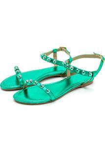Sandália Rasteira Com Esferas Feminina Metalizado Verde
