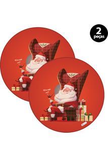 Capa Para Sousplat Mdecore Natal Feliz Natal Vermelho 2Pçs