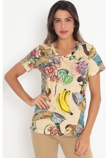 Camiseta Com Pespontos- Verde & Bege Claro- Colccicolcci