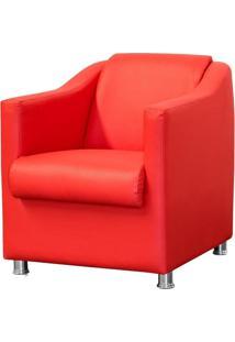 Poltrona Decorativa Para Sala E Escritório Laura L02 Corino Vermelho - Lyam Decor