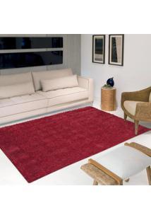 Tapete Luxo Pelo Super Macio Casa Dona Vermelho 150X200Cm