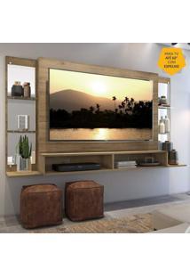"""Painel Tv 60"""""""" C/ Espelho E Prateleiras De Vidro Nairóbi Multimóveis Rustic"""