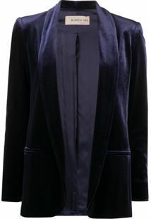 Blanca Vita Blazer De Veludo - Azul