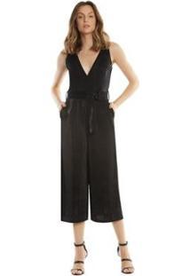 Macacão Zinco Pantalona Com Cinto Feminino - Feminino