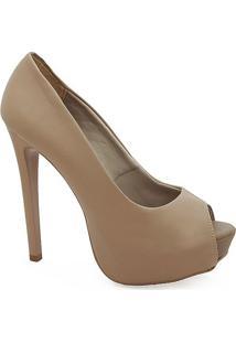 Sapato Peep Toe Feminino De Salto Alto - Feminino-Nude
