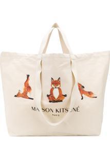 Maison Kitsuné Yoga Foxes Oversized Canvas Tote - Neutro