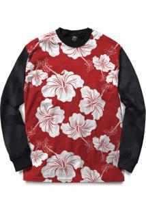 Blusa Bsc Flower Red N White Full Print - Masculino-Preto