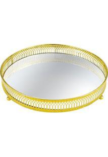 Bandeja Mart Para Decoração De Metal Com Espelho Dourado