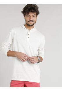 Camiseta Masculina Em Linho Com Botões E Capuz Manga Longa Bege Claro