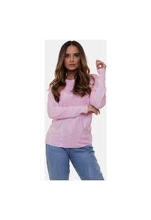 Blusa Pink Tricot Com Trança De Tricô Gola Redonda Feminina