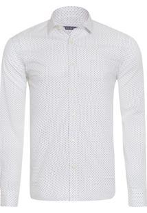 Camisa Masculina Denim Ft Estampada Poá - Branco