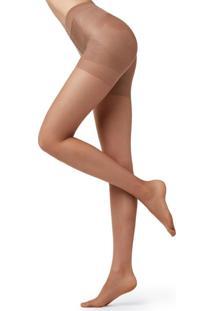 Meia Calça Com Compressão Graduada Transparente Fio 15 Efeito Modelador Total Premium - Bege