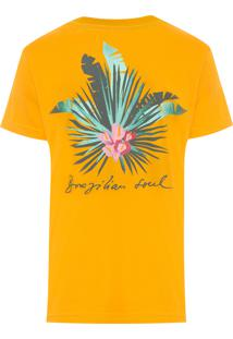 Camiseta Masculina Big Shirt Cut Leafs - Amarelo