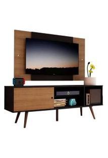 Rack Madesa Cairo E Painel Para Tv Até 58 Polegadas Com Pés De Madeira - Preto/Rustic D8C1 Cor:Preto/Rustic