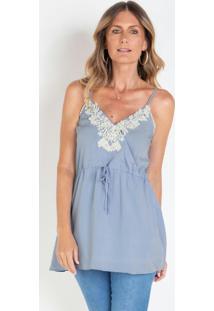 Blusa De Alcinhas Com Guipir Azul Claro