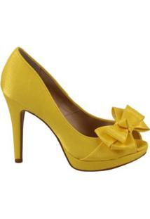 Peep Toe Spaço Criativo Com Detalhe Em Laço - Feminino-Amarelo